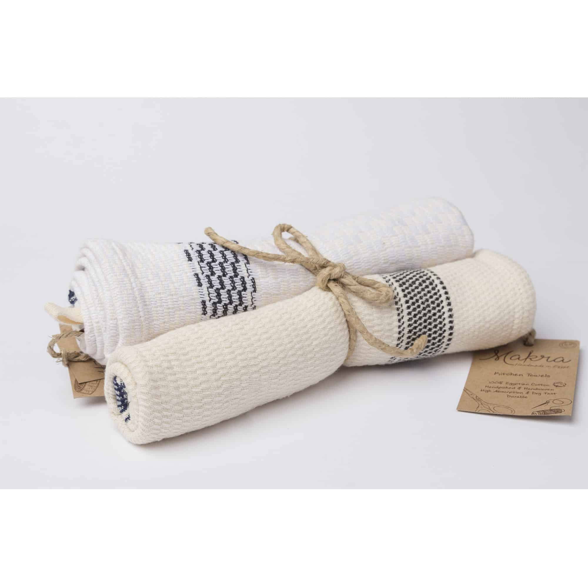 Tea And Kitchen Towel   Set Of 2 Off White And White