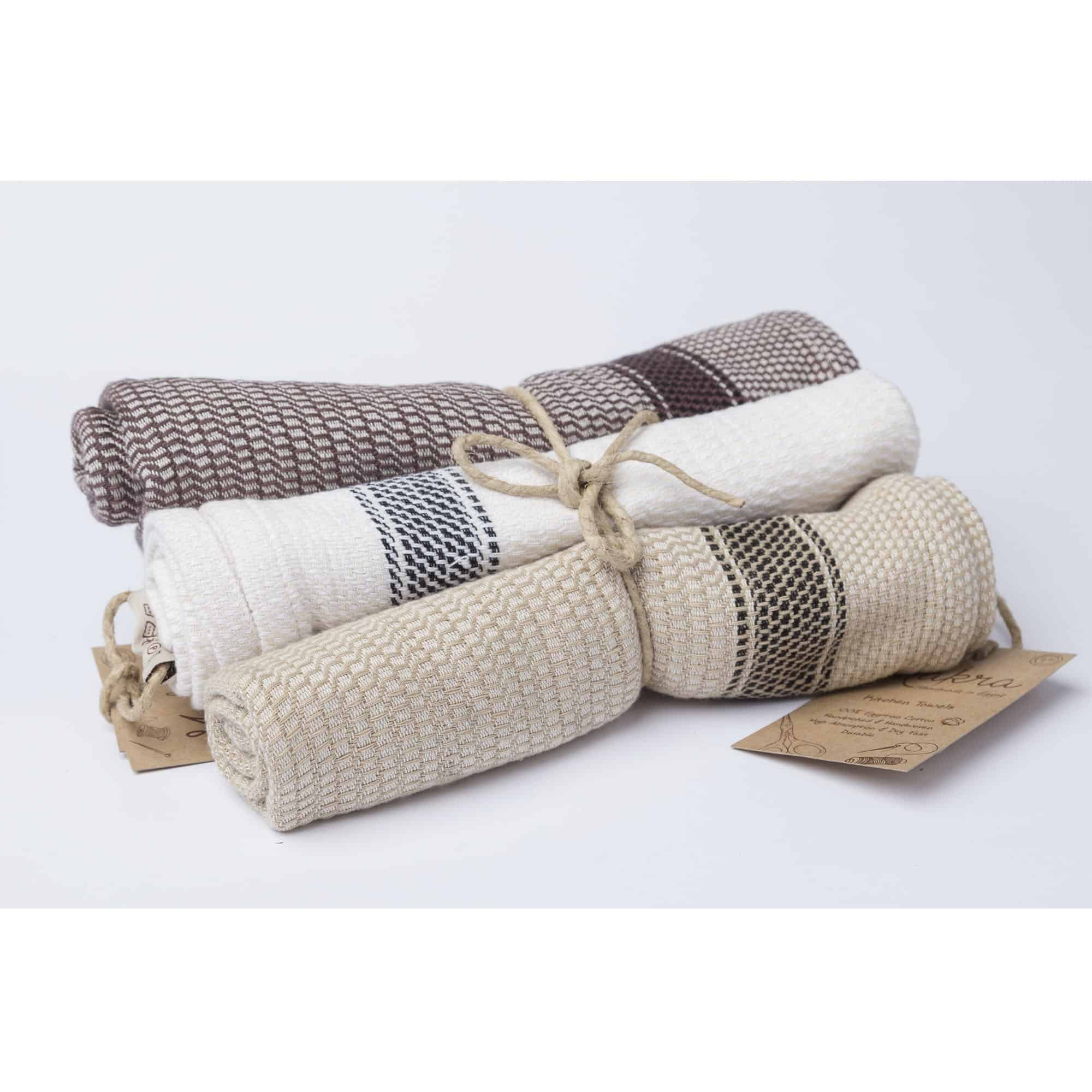 Set of 3 Tea and Kitchen Towels - Handwoven Egyptian Cotton